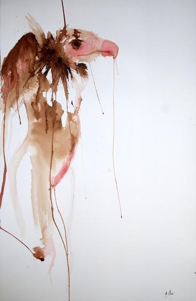 Juliette Choné - Chimère, 2010, brou de noix et encre sur papier, 65x100 cm