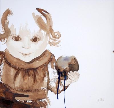Juliette Choné - Pomme damore, 2010, brou de noix et encre sur papier, 41x43 cm