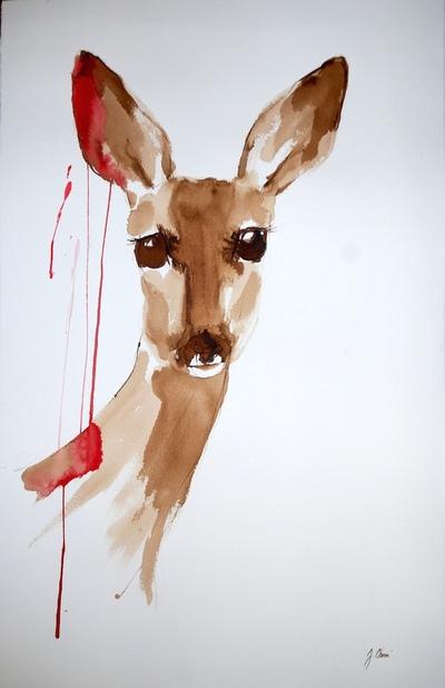 Juliette Choné - Morsure, 2010, brou de noix et encre sur papier, 65X100 cm