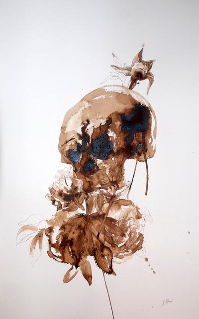 Juliette Choné - Beauté fatale, 2010, brou de noix sur papier, 65x100 cm
