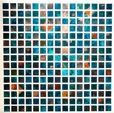 Juliette Choné - Quinze eaux carrées, 2012, cuivre oxydé collé sur papier aquarelle marouflé, 80X80 cm