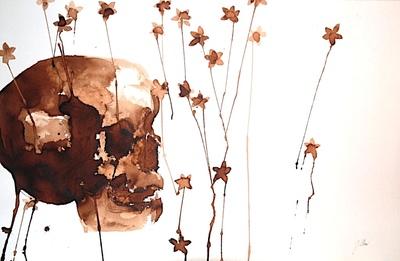 Juliette Choné - Etoilement, 2010, brou de noix sur papier, 100x65 cm