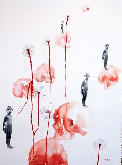 Juliette Choné - Petit Poucet, 2012, Encre, crayon à papier et collage, 50X65cm
