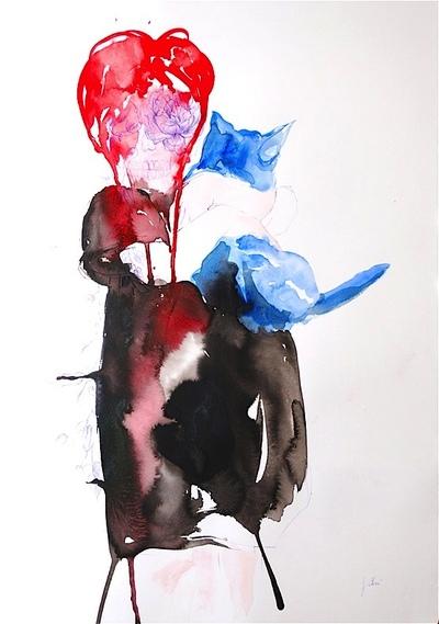 Juliette Choné - Le chat bleu, 2012, encre, aquarelle, stylo bille, 75X106 cm