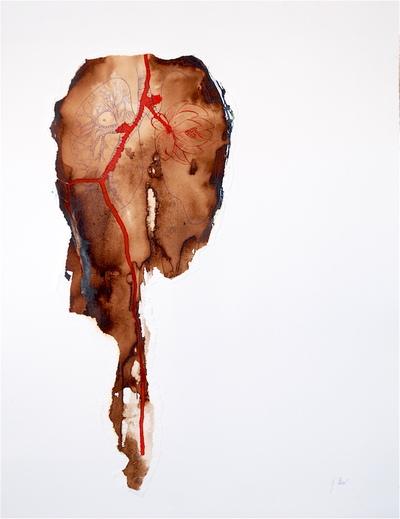 Juliette Choné - Hommage à Boris Vian, 2013, brou de noix sur papier, 65x100 cm