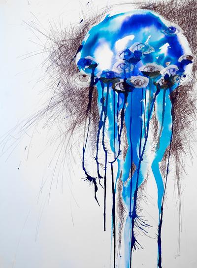 Juliette Choné - Medusée, 2014, Encre et stylo bille sur papier, 56X76cm