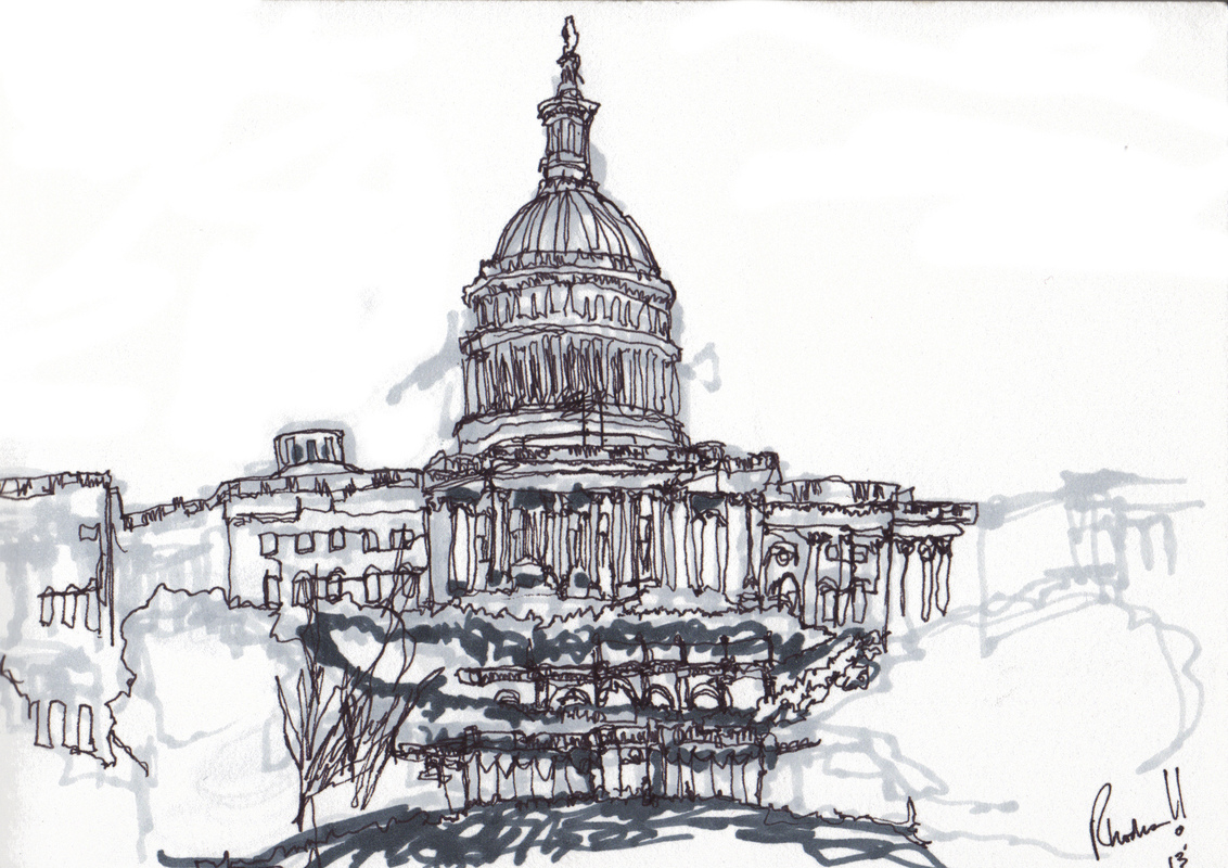 The Works of Brian Vincent Rhodes - The Capitol Building. Pen and Copic Marker. 2013