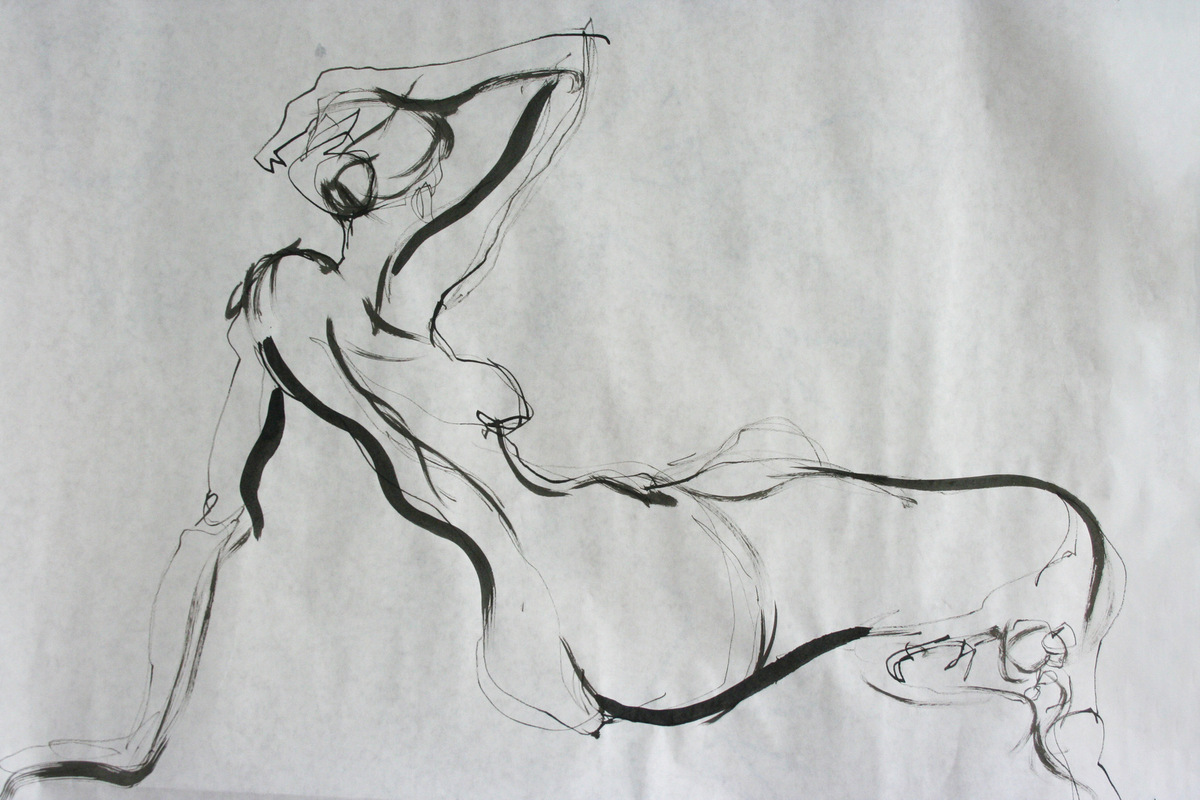 The Works of Brian Vincent Rhodes - Figure Drawing. Ink. 2013