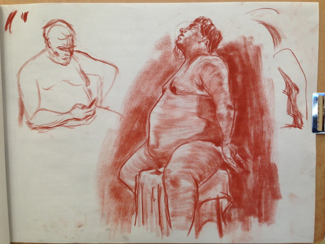 The Works of Brian Vincent Rhodes - Figure Drawing. Conte Crayon. 2015