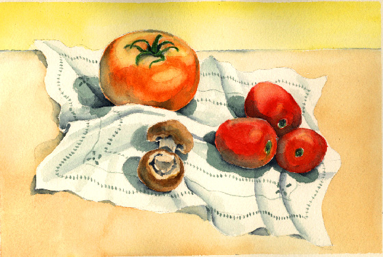 Esther Baran Artwork - Tomatoes and Mushrooms - $350
