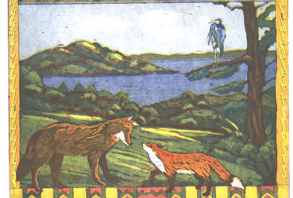 Esther Baran Artwork - Fox and Coyote - $345