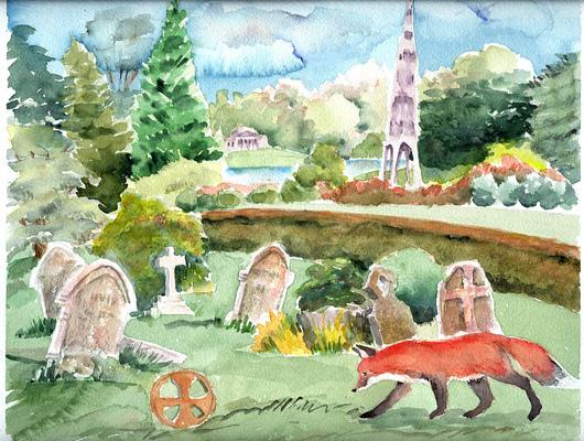 Esther Baran Artwork - Churchyard Fox- $400