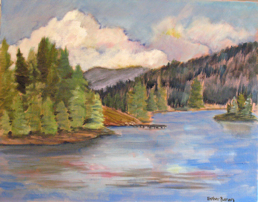 Esther Baran Artwork - Boat Dock on Lake