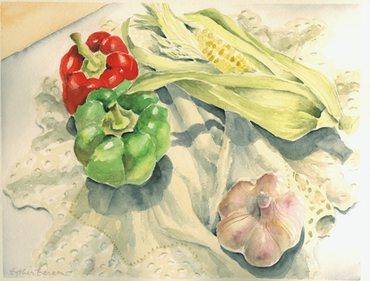Esther Baran Artwork - Peppers and Corn - $350