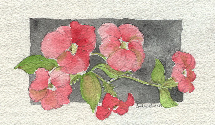 Esther Baran Artwork - Pink Petunias Small