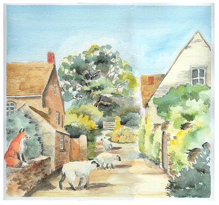 Esther Baran Artwork - Sheep and Fox - $550