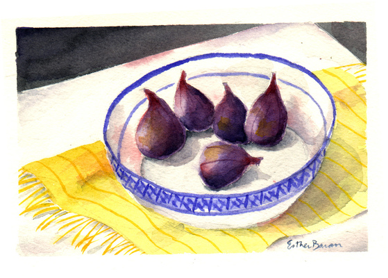 Esther Baran Artwork - Figs in a Bowl - SOLD