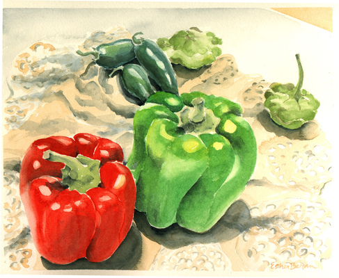 Esther Baran Artwork - Five Peppers - $370