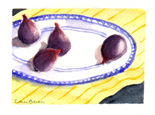 Esther Baran Artwork - Figs on Plate II -SOLD