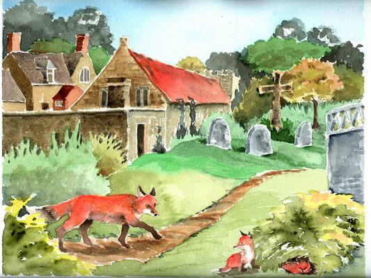 Esther Baran Artwork - Churchyard Foxes - $470