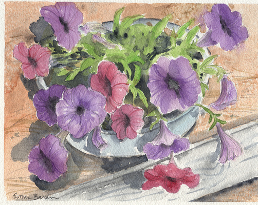 Esther Baran Artwork - Purple Petunias - $195
