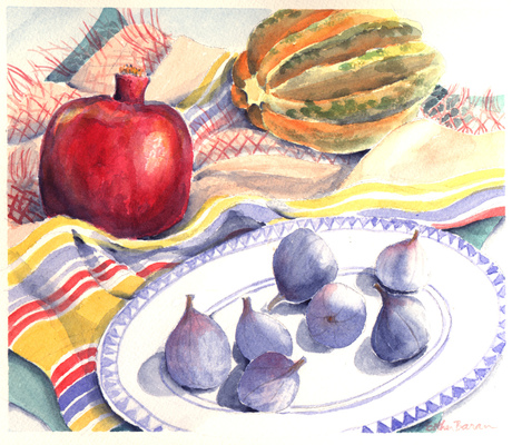 Esther Baran Artwork - Pomegranate and Figs - $370