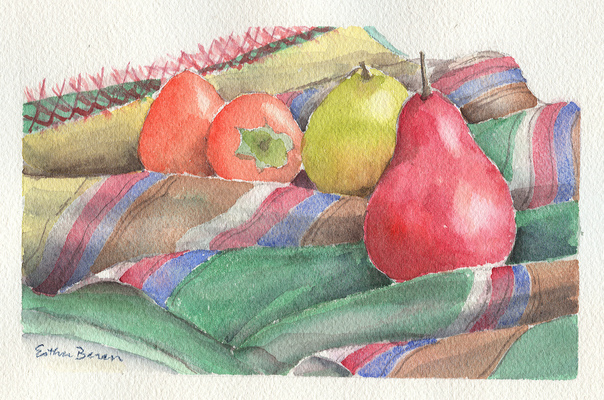 Esther Baran Artwork - Red Pear and Persimmons