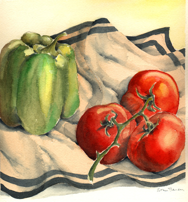 Esther Baran Artwork - Green Pepper and Tomatoes - $350