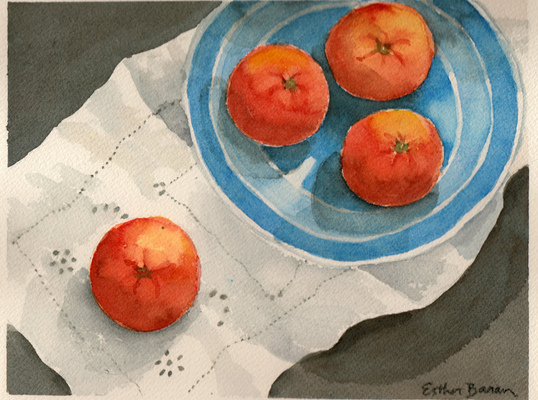 Esther Baran Artwork - Tangerines in Heath Bowl I - $370