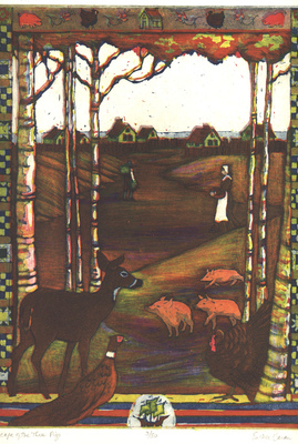 Esther Baran Artwork - Escape of the Three Pigs - $345