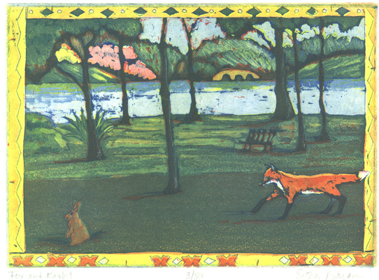 Esther Baran Artwork - Fox and Rabbit - $280