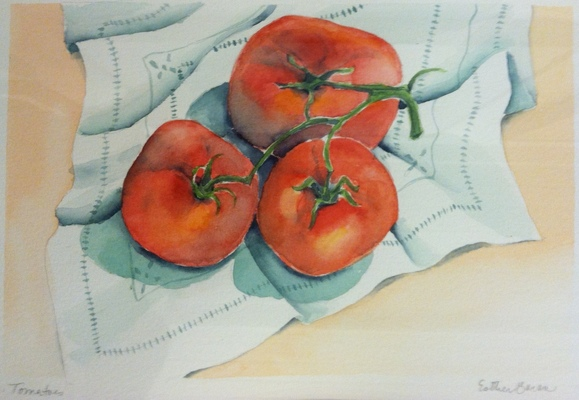 Esther Baran Artwork - Tomatoes on Cloth I - $350
