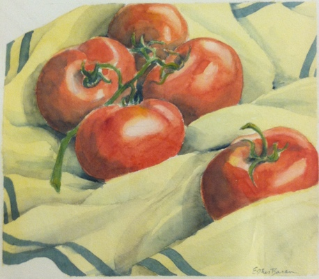 Esther Baran Artwork - Tomatoes on Cloth II - $350