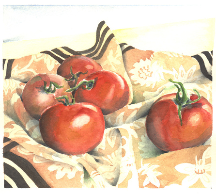 Esther Baran Artwork - Tomatoes on Cloth III - $370