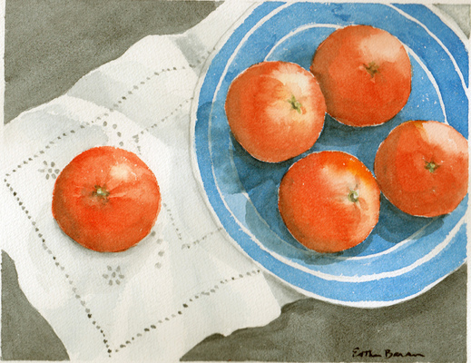 Esther Baran Artwork - Tangerines in Heath Bowl III
