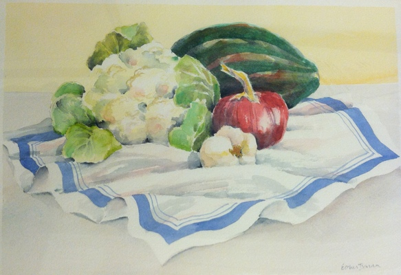 Esther Baran Artwork - Cauliflower and Garlic - $350