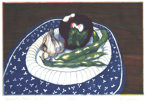 Esther Baran Artwork - Eggplant, Fava, Garlic - $280