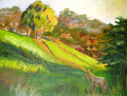 Esther Baran Artwork - Coyote on Hill