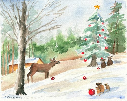 Esther Baran Artwork - Merry Moose