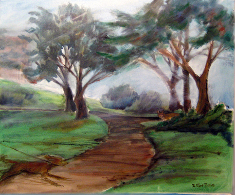 Esther Baran Artwork - Foggy Park Encounter
