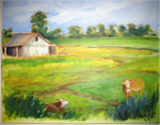 Esther Baran Artwork - Cows in Field