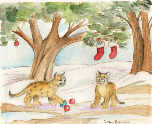Esther Baran Artwork - Christmas Cougar Cubs