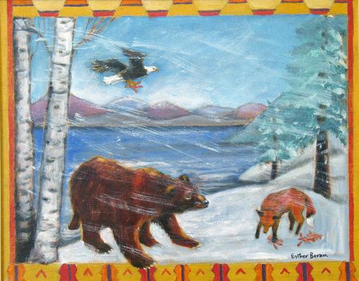 Esther Baran Artwork - Bear and Fox - SOLD