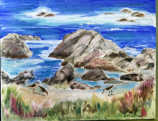 Esther Baran Artwork - Asilomar Beach Seascape I - $750