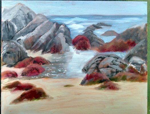 Esther Baran Artwork - Asilomar Beach Red Rocks - $750