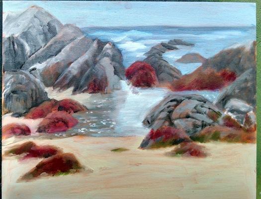 Esther Baran Artwork - Asilomar Beach Red Rocks - $750