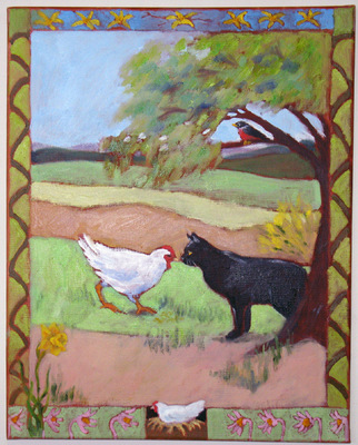Esther Baran Artwork - Cat Meets Hen - $900