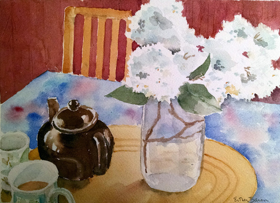 Esther Baran Artwork - White Lilacs & Teapot - $350