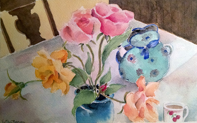 Esther Baran Artwork - Roses & Teapot - $350