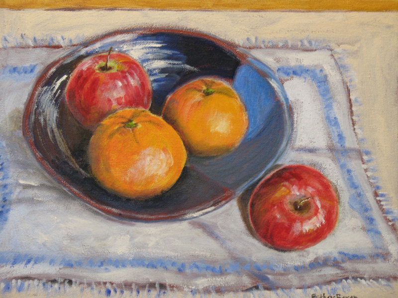 Esther Baran Artwork - Two Oranges, Two Apples I - $525